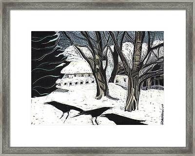 Framed Print featuring the drawing Snow Noise by Grace Keown