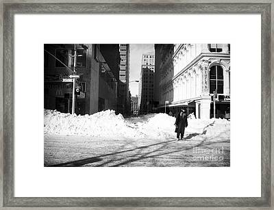 Snow On Broadway 1990s Framed Print by John Rizzuto