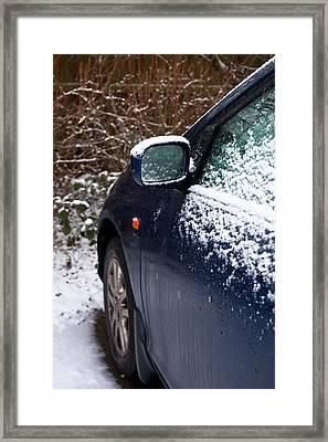 Snow On Car Framed Print