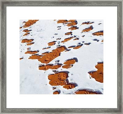Snow On Dunes Framed Print