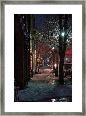 Snow On G Street 2 - Old Town Grants Pass Framed Print by Mick Anderson