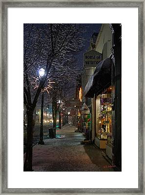 Snow On G Street 3 - Old Town Grants Pass Framed Print by Mick Anderson