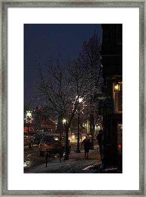 Snow On G Street 4 - Old Town Grants Pass Framed Print by Mick Anderson