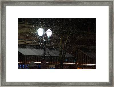 Snow On G Street In Grants Pass - Christmas Framed Print by Mick Anderson