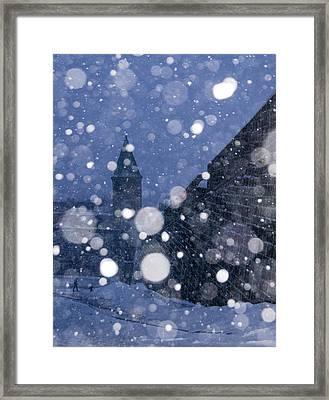 Snow On Old Quebec City Framed Print