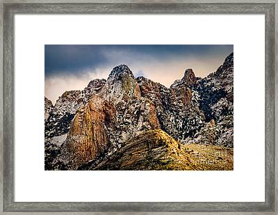 Framed Print featuring the photograph Snow On Peaks 45 by Mark Myhaver