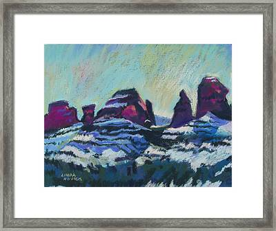 Framed Print featuring the painting Snow On Peaks by Linda Novick
