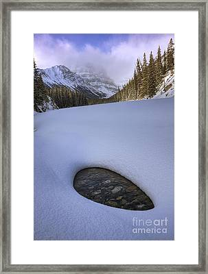 Snow On Sunwapta Creek Framed Print
