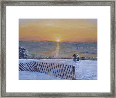 Snow On The Beach Framed Print