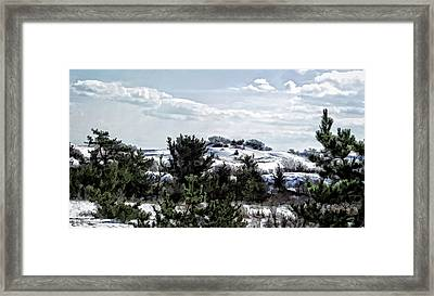 Framed Print featuring the photograph Snow On The Dunes Photo Art by Constantine Gregory