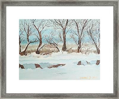 Snow On The Ema River 2 Framed Print