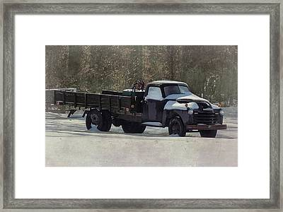 Snow On The Farm Framed Print by Victor Montgomery