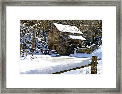 Snow On The Fence Framed Print