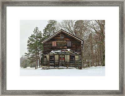 Snow On The General Store Framed Print by Benanne Stiens