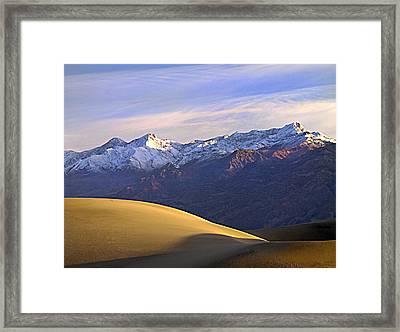 Snow On The Grapevine Range.  Framed Print