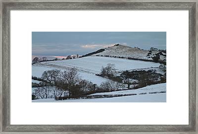 Snow On The Hill Framed Print by John Topman