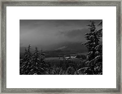 Framed Print featuring the photograph Snow On The Horizon Bw by Timothy Latta