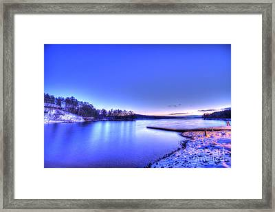 Snow On The Lake Framed Print by Robert Loe