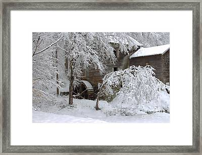 Snow On The Mill Framed Print by Benanne Stiens