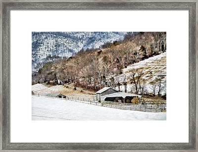 Snow On The Mountain Framed Print