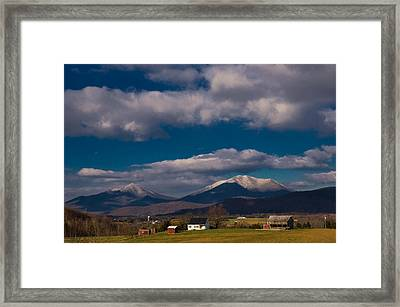 Snow On The Mountains Framed Print by Sherri Quick