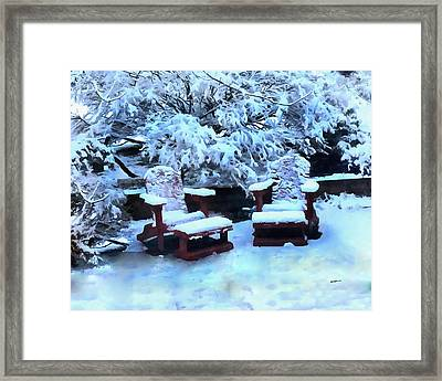Snow On The Patio Framed Print by Anthony Caruso