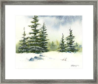 Snow On The Pines  Framed Print
