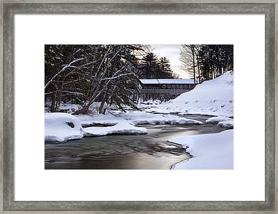 Snow On The Saco Framed Print by Eric Gendron