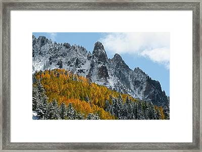 Snow On The San Juan Mountains In Autumn Framed Print by Jetson Nguyen