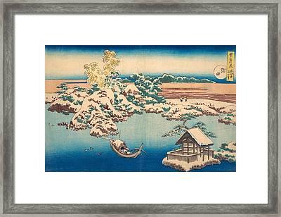 Snow On The Sumida River Framed Print