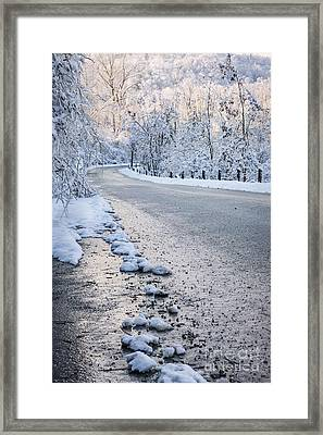 Snow On Winter Road Framed Print