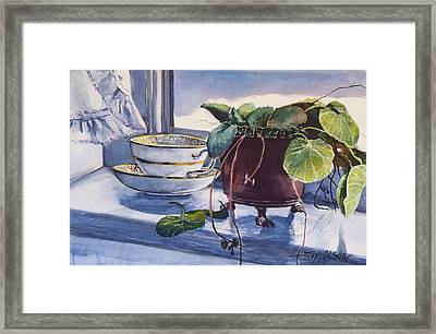 Framed Print featuring the painting Snow Outside The Window by Joy Nichols