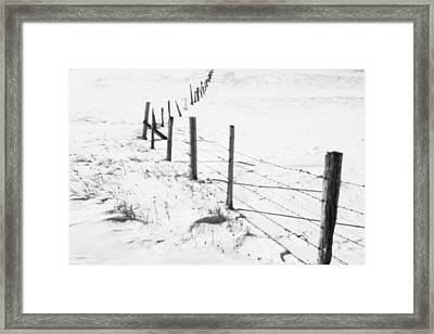 Snow Packed Fence Line Framed Print
