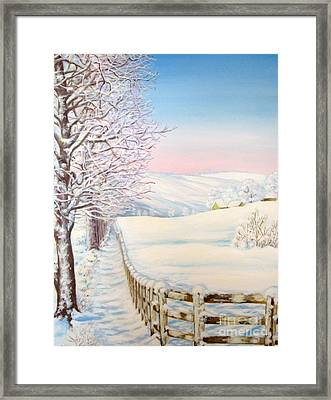 Framed Print featuring the painting Snow Path by Inese Poga
