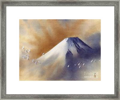 Snow Peak With Cranes Framed Print by Pg Reproductions