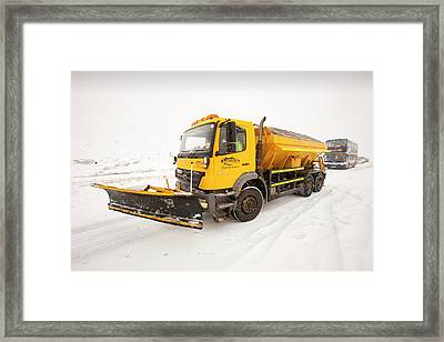 Snow Plough On The Road Framed Print by Ashley Cooper