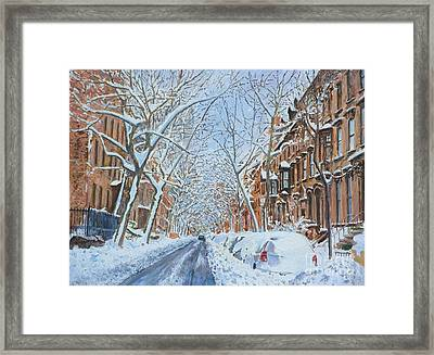 Snow Remsen St. Brooklyn New York Framed Print by Anthony Butera
