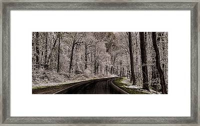 Snow Road Framed Print by Tom  Reed