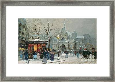 Snow Scene In Paris Framed Print by Eugene Galien-Laloue