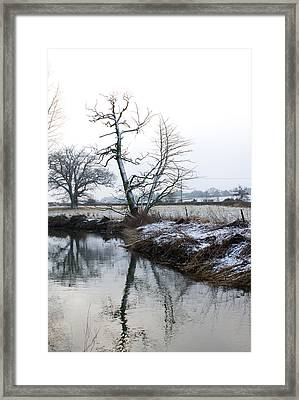 Snow Scene With River Running Through Framed Print