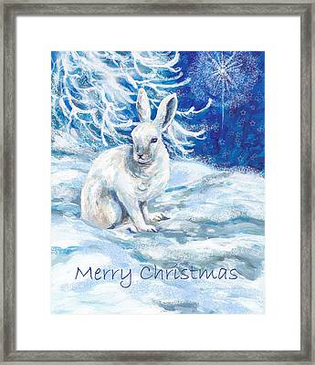 Snow Shoe Rabbit With Xmas Star Framed Print by Peggy Wilson