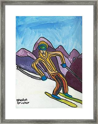 Snow Skier Framed Print by Artists With Autism Inc