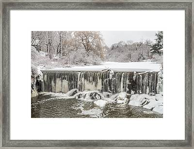 Snow Sleet And Freezing Rain On The Falls Framed Print by Stroudwater Falls Photography
