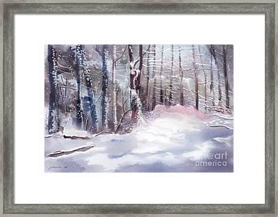 Snow Sparkled Woods Framed Print
