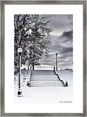 Snow Stairs Framed Print by Steven Reed