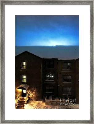 Snow Storm Lightning Framed Print by Lilliana Mendez