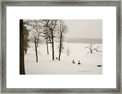 Snow Tubing In The Poconos Framed Print by Ann Murphy