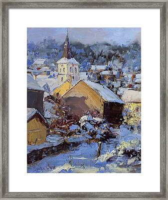 Snow Village Framed Print by James Swanson