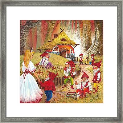 Snow White And The Seven Dwarfs Framed Print by Anna Ewa Miarczynska