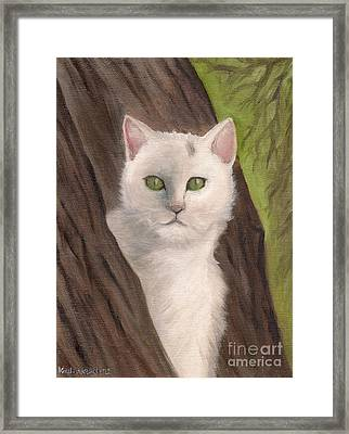 Snow White The Cat Framed Print by Kostas Koutsoukanidis
